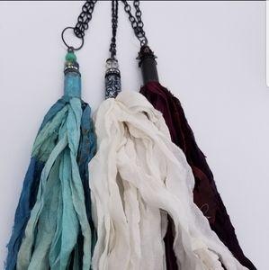 Jewelry - Masquerade Red Sari-silk Necklace